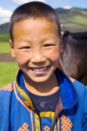 independent mongolia: Mongolian boy with a beautiful smile.