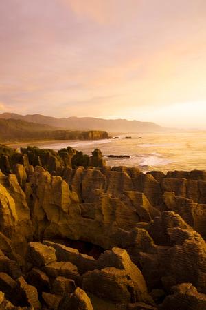 coastal feature: Pancake Rocks, Punakaiki, South Island, New Zealand.