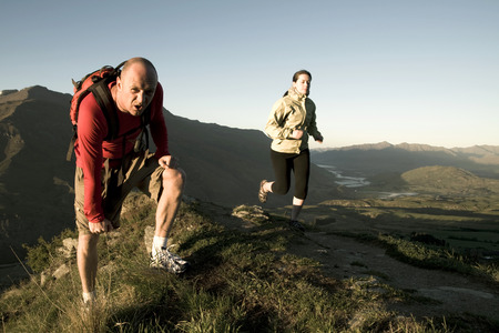 aspiring: Extreme athletes exercising in the mountains. Queenstown, New Zealand.