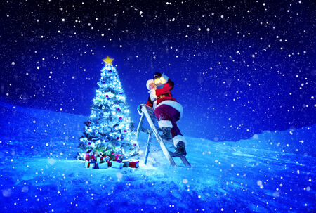 stepladder: Santa with lamp on a step-ladder by the christmas tree.