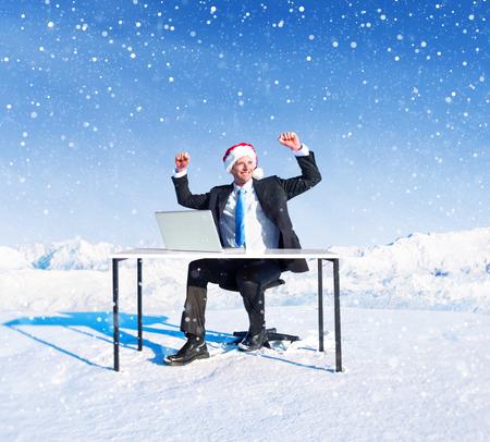 holiday season: Businessman ready for holiday season.