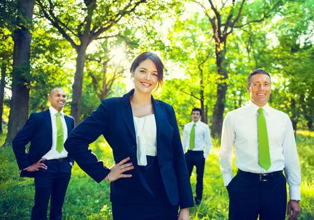 business men: Green business team.