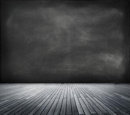 empty space: Blackboard in an Empty Room Stock Photo