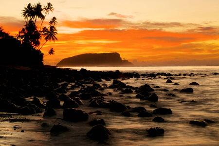 Sunset on a tropical island.  photo