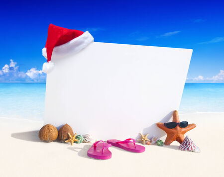 Paradise beach display with copy space. photo