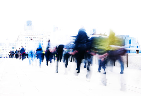 streets of london: People rushing to work. Stock Photo