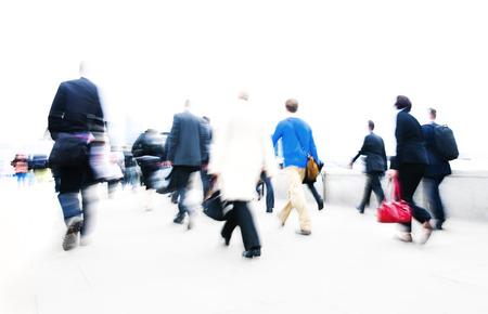 hurrying: People rushing to work. Stock Photo