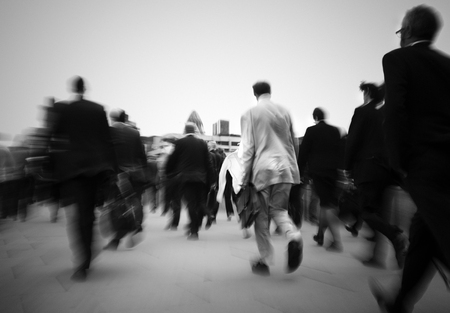 Crowd of businessmen on their way to work.