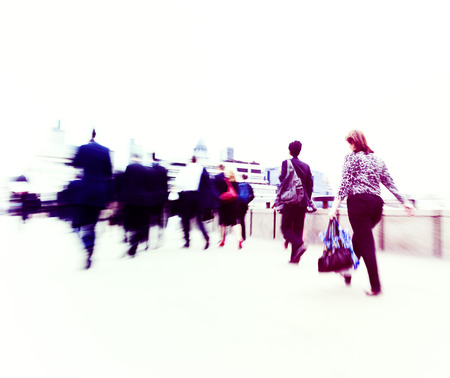 rushing hour: Commuters in the city. Stock Photo