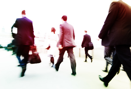 hurrying: Commuters on their way to work.