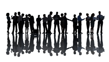 Silhouettes of Business People Working photo