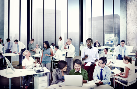 BUSY OFFICE: Multiethnic Group of People Working in the Office