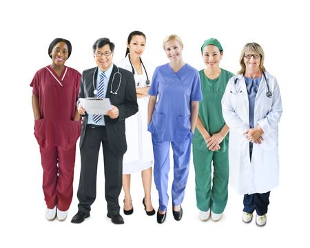 medical uniform: Diverse Multiethnic Cheerful Medical Team