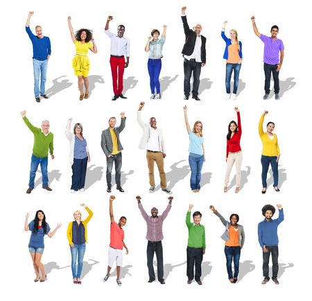 Multi-Ethnic Group of People Arms Raised Imagens