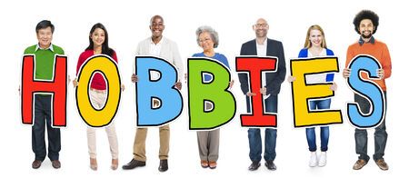 hobbies: Cheerful Diverse Business People and Text Hobbies