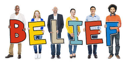 Multiethnic Group of People Holding Letter Belief Stock Photo
