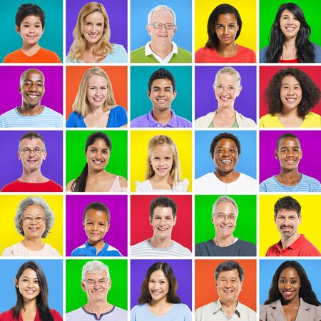 mixed age: Multi-ethnic group with colorful background