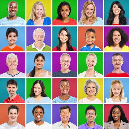 human face: 5 x 5 Colourful Grid with facial expressions Stock Photo