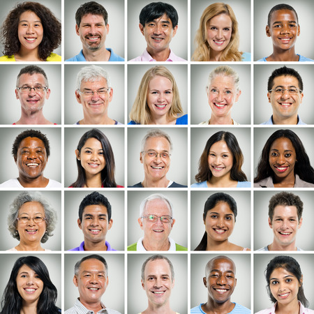 man face: 5x5 raster van close-ups van de lachende mensen