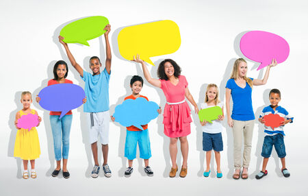 mixed age: Mixed age people sharing ideas about social media. Stock Photo