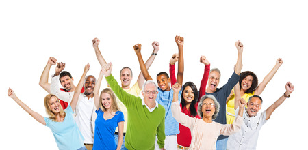 expressing positivity: Multi-Ethnic Group Of People Raising Their Arms And Expressing Positivity