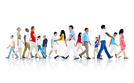 people walking white background: Mullti-ethnic group of people walking