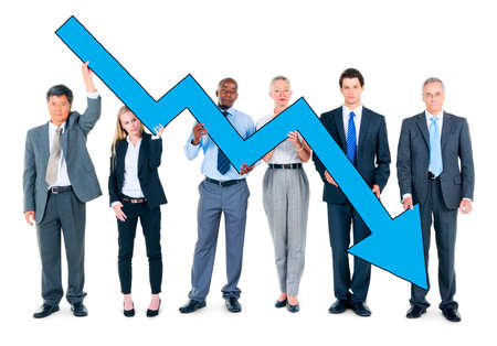 Group of Business People on Economic Crisis Stock Photo