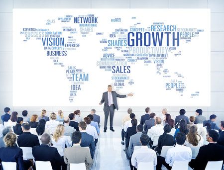 global strategy: Businessmen Teaching About Business Growth Stock Photo