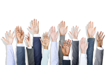 hands raised: Group of Diverse Business Peoples Hands Raised