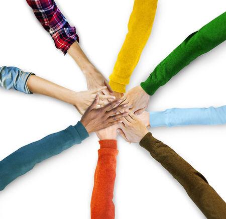 mani unite: Gruppo di Mani Diverse Together Archivio Fotografico