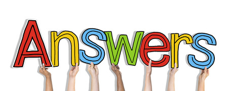 Group of Diverse Peoples Hands Holding Answers photo