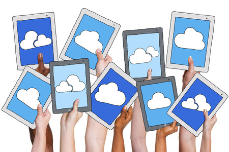 medium group of people: Arms Holding Digital Tablet with Cloud Computing Concept