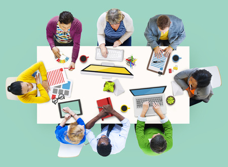 Diverse People Working and Photo Illustrations illustration