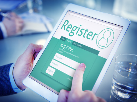 Man Having an Online Registration Imagens