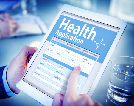 place to learn: Digital Health Insurance Application Form Concept Stock Photo