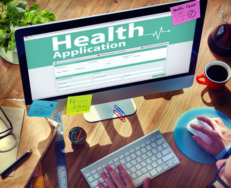 health insurance: Computer Health Insurance Digital Application Form Concept