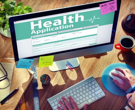medical insurance: Computer Health Insurance Digital Application Form Concept