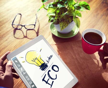 digital tablet: Digital Tablet Illustration Brainstorming Concept