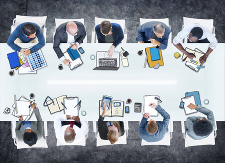 asian man laptop: Group of Business People Meeting in Photo and Illustration Stock Photo
