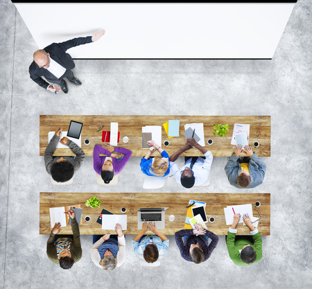 university students: Multiethnic Group of Student Studying in Photo and Illustration Stock Photo