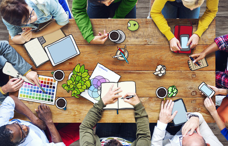 medium group of people: Casual Designers Working and Photo Illustrations