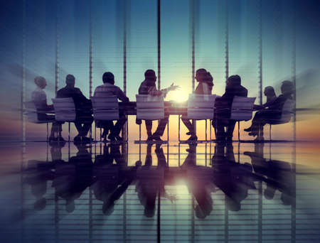 man rear view: Group of Business People Meeting Back Lit Concept Stock Photo
