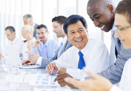 business relationship: Multi-ethnic group of business people meeting