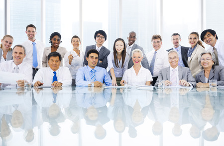 people working together: Group of multi ethnic business person meeting Stock Photo