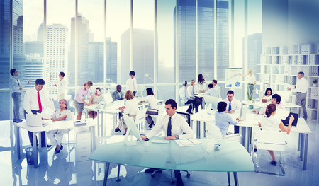 medium group of people: Business People Working in an office Stock Photo