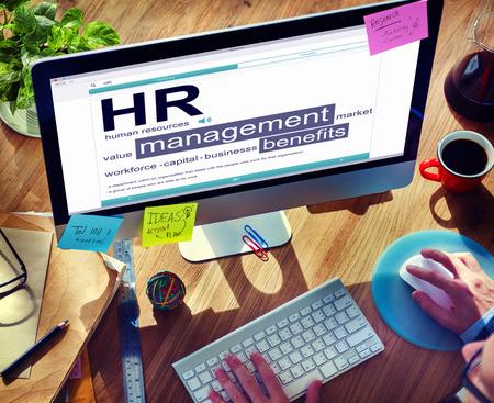 human hands: Digital Dictionary Human Resources Management Concept