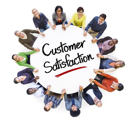 customer satisfaction: Diverse People in a Circle with Customer Satisfaction Concept