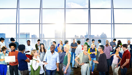 business communication: Multiethic Group of People Business Communication Office Concept Stock Photo