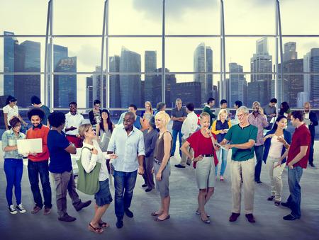 全球社區人民傳播城市理念 版權商用圖片