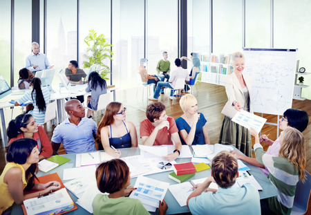 group: Diverse Students Learning from the Professor Stock Photo